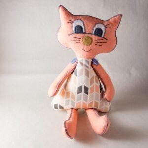 kočka látková velká broskvová